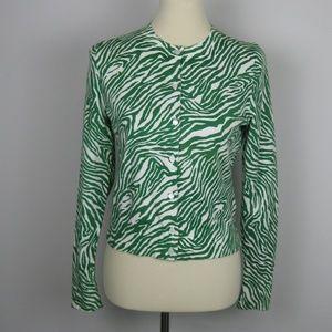 Banana Republic Cardigan Color green zebra print
